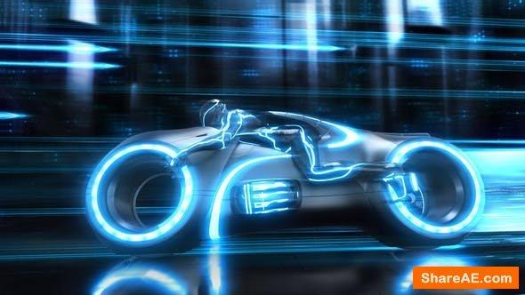 Videohive Futuristic Neon Bike Logo