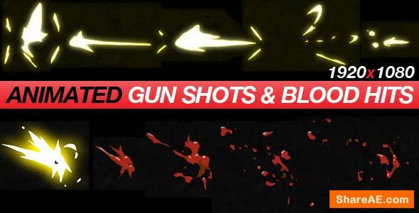 Videohive Gun Shots & Blood Hits - Anime Action Essentials - Motion Graphic