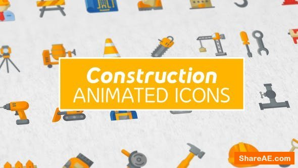 Videohive Construction & Painting Modern Flat Animated Icons