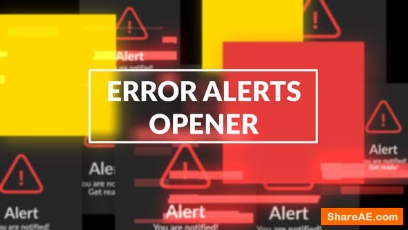 Videohive Error Messages Glitch Opener
