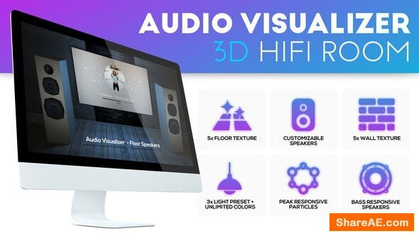 Videohive Audio Visualizer 3D Music Room