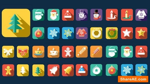 Videohive Flat Style Animated Christmas And New Year Icons