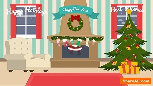 Videohive Cartoon Christmas Postcard