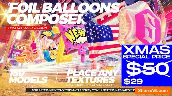 Videohive Foil Balloons Composer