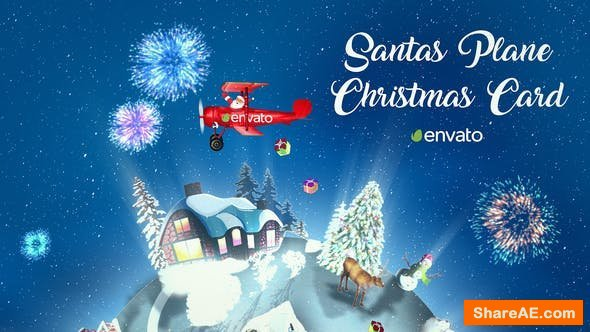 Videohive Santas Plane Christmas Card | After Effects Template