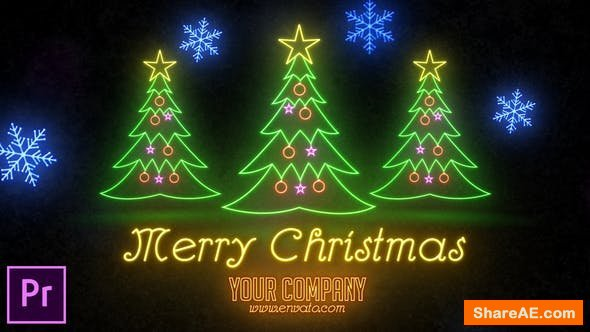 Videohive Neon Light Christmas - Premiere Pro