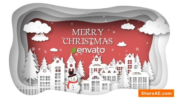 Videohive Christmas Paper Town Wishes