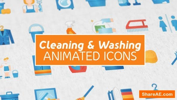 Videohive Cleaning & Washing Modern Flat Animated Icons