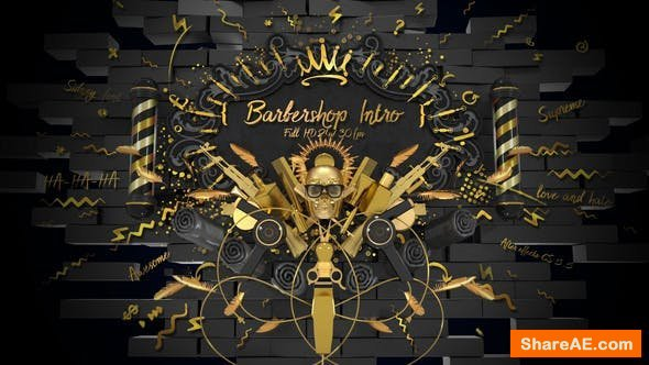 Videohive Barbershop Intro/ Hipster Haircut/ Man Style/ Beard/ Hair/ Moustache/ Gold Scull/ Black Luxury Salon