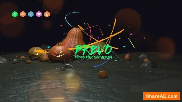 Videohive Halloween Brush Opener/ Colorful Logo/ Scary Pumpkin Face/ Dark Mystery/ Horror Party/ Witch/Bats