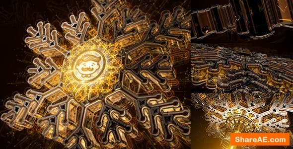 Videohive Snowflake Opener 3D/ Gold Metal Intro/ Syfy Winter/ High Technology Snow Intro/ HUD Logo/ New Year