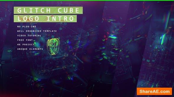 Videohive Glitch Cube Logo 4k Intro/ Youtube Blog/ Digital Distortion/ Error and Bad Signal/ Glass Aberration
