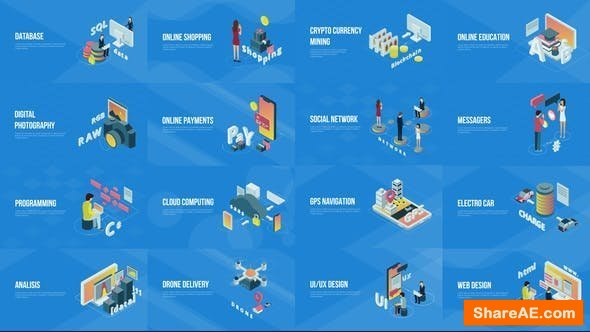 Videohive Technology And Innovation Isometric Scenes