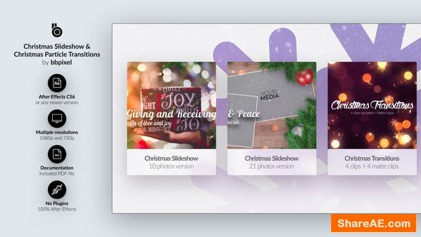 Videohive Christmas Slideshow & Christmas Particle Transitions