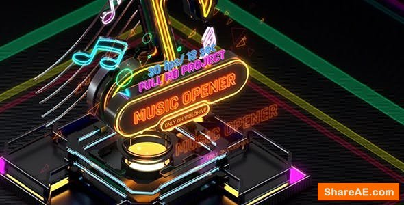 Videohive Music Opener Neon Style/ Music Award/ Old Music Boombox/ Radio Show/ Speakers and Bass