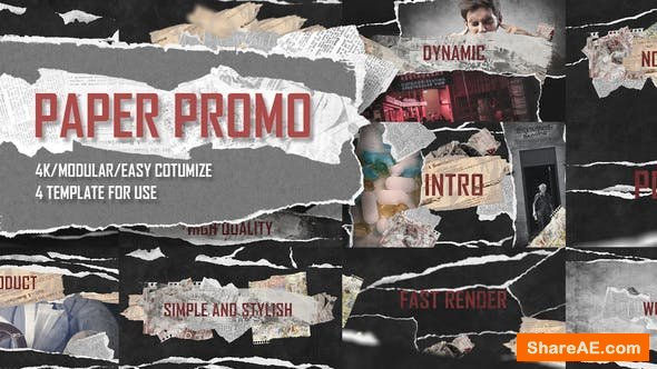 Videohive Paper Promo/ Stomp Typography/ Torn Newspaper Promotion/ Social Presentation Intro/ Drum Beat Rhythm