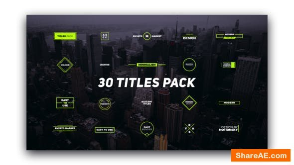 Videohive 30 Titles Pack - Premiere Pro