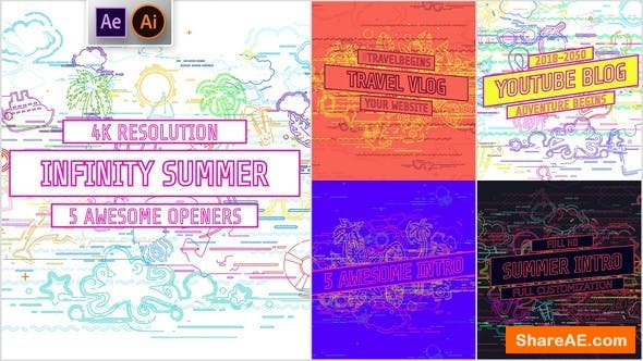 Videohive Youtube/ Infinity Summer Openers/ Social Media/ Line Icons/ Cartoon/ Music Dance Party/ IGTV/ Event
