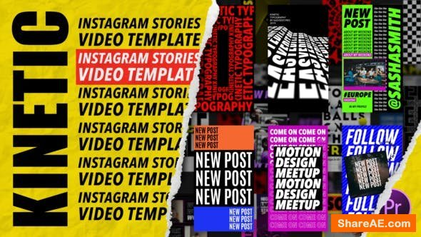 Videohive Kinetic Instagram Stories | MOGRT for Premiere Pro