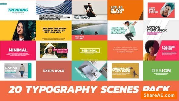 Videohive 20 Trendy Typography Scenes - Premiere Pro