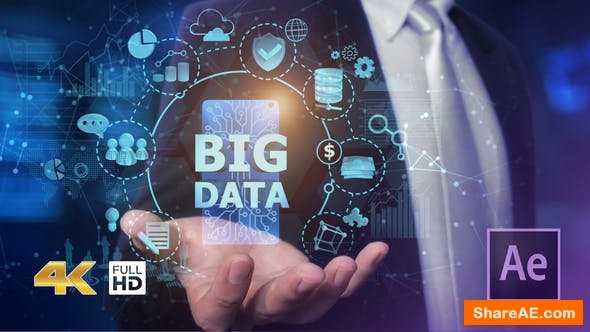 Videohive Businessman Open Hand Big Data