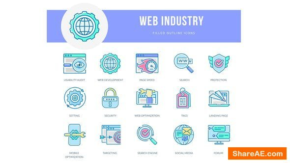 Videohive Web Industry - Filled Outline Animated Icons
