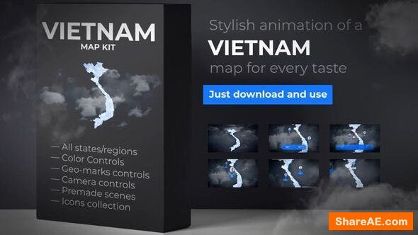 Videohive Vietnam Map - Socialist Republic of Vietnam Map Kit