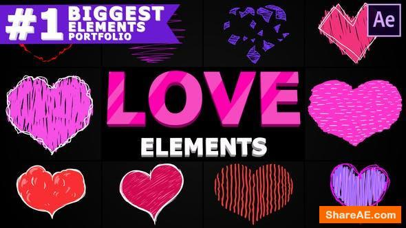 Videohive Cartoon Love Elements | After Effects