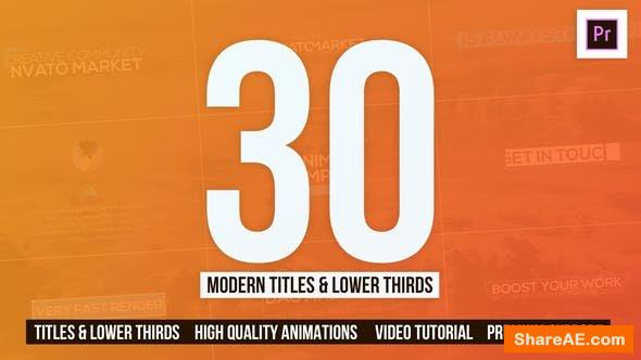 Videohive 30 Modern Titles & Lower Thirds - Mogrt - Premiere Pro