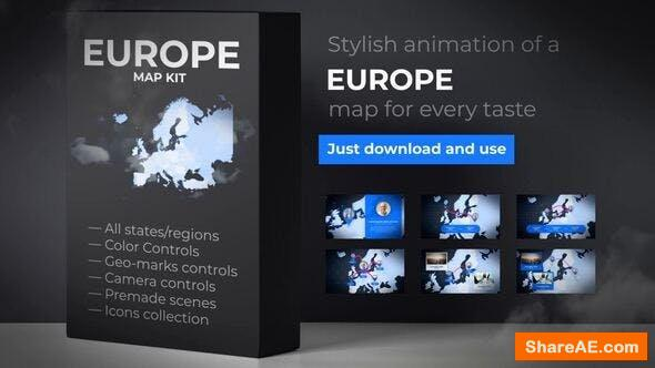 Videohive Map of Europe with Countries - Europe Map Kit