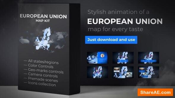 Videohive Map of European Union with Member States - European Union EU Map Kit