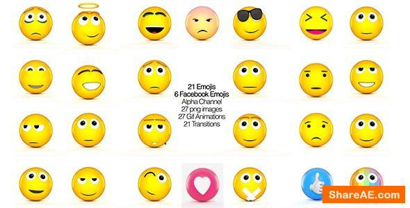 Videohive Facebook Emojis And 3D Animated set of Emojis