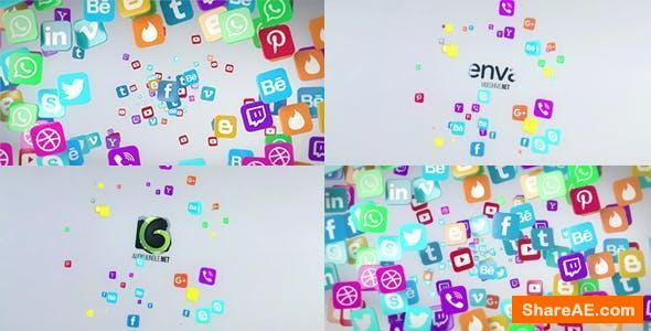 Videohive Social Media Flying Icons Logo Reveal