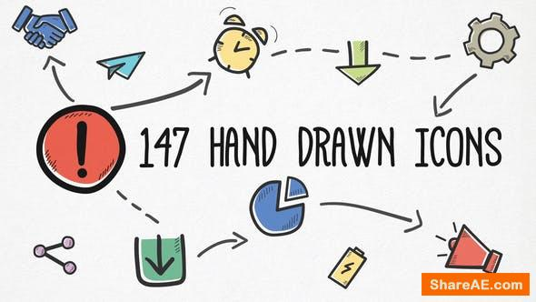 Videohive Hand-drawn Icons Pack