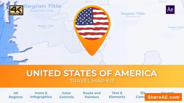 Videohive Travel Map USA - United States of America