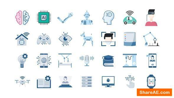 Videohive 100 Artificial Intelligence Icons
