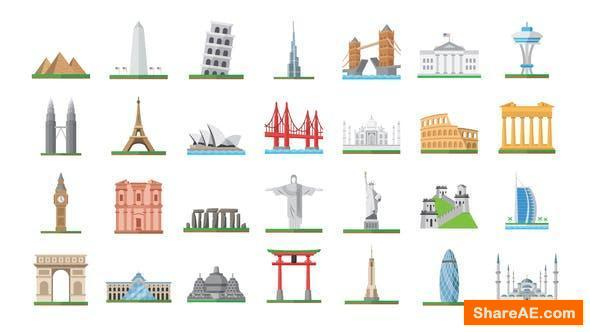 Videohive 100 World Landmarks Icons