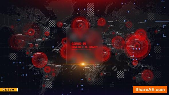 Videohive Virus Map Intro/ Corona Virus Covid-19/ DNA/ HUD UI/ Medical Digital Opener/ Pandemic/ World Terror