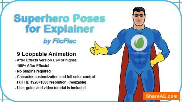Videohive Superhero Poses For Explainer