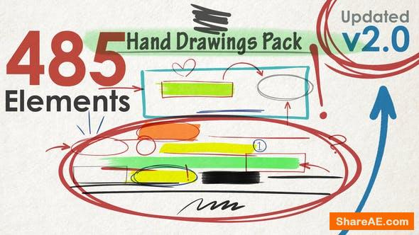 Videohive Hand Drawings Pack (485 elements) v2.0