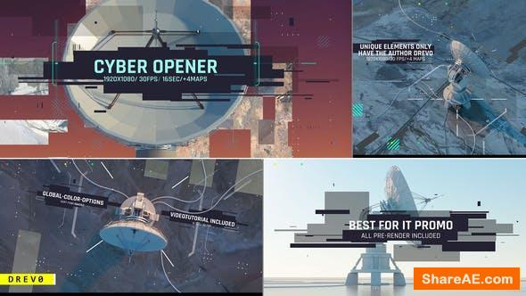 Videohive Cyber Opener/ Satellite Antenna/ IT Glitch/ 3D UI/Sci-fi Industrial/ Information Digital Technology