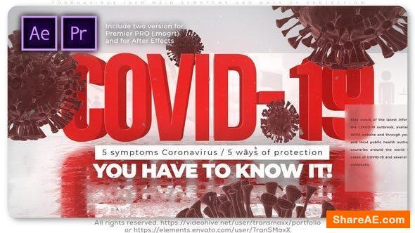 Videohive Coronavirus Info Main Symptoms and Ways of Protection - Premiere Pro