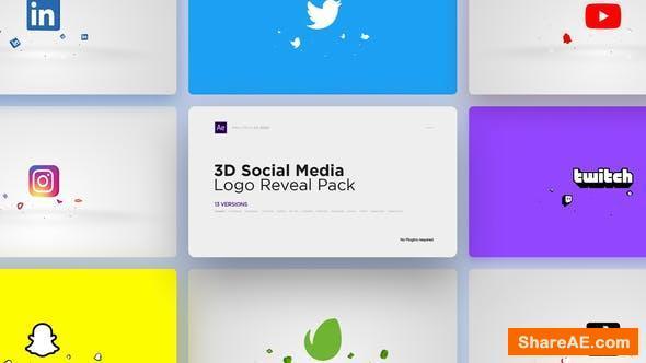 Videohive 3D Social Media Logo Reveal Pack