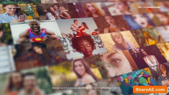 Videohive Mosaic Photo Wall Vlog Logo Reveal