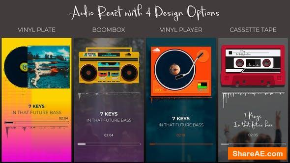 Videohive Audio React Spectrum Visualizer with Boombox, Cassette Tape, Vinyl Plate and Vinyl Player Equalizer