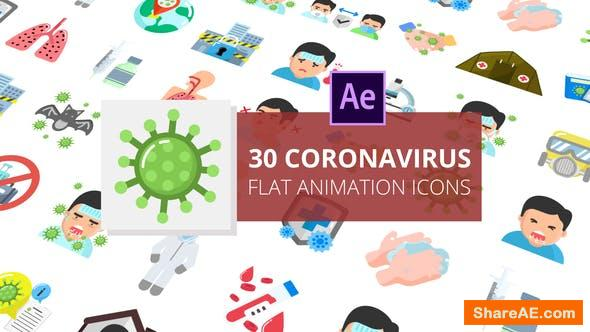 Videohive Coronavirus Flat Animation Icons | After Effects