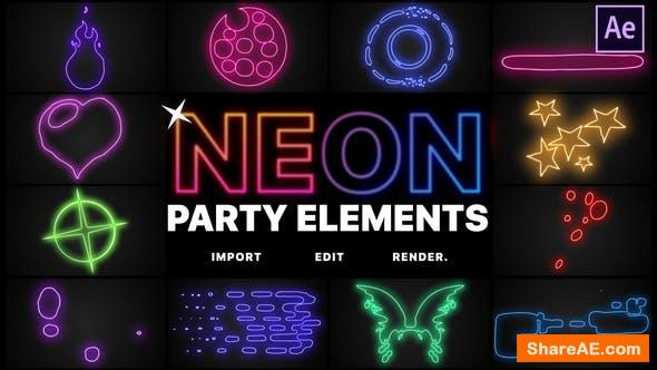 Videohive Neon Party Elements | After Effects