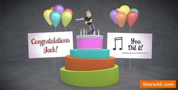 Videohive Happy Birthday Cake Dancer