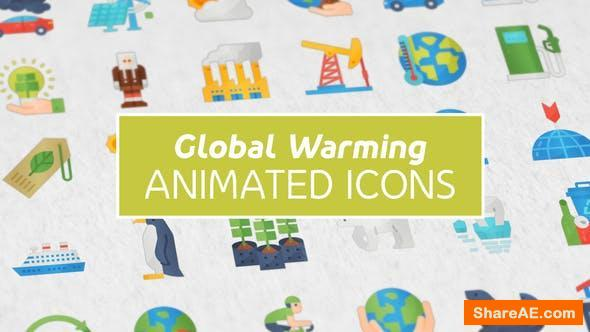 Videohive Global Warming Modern Flat Animated Icons