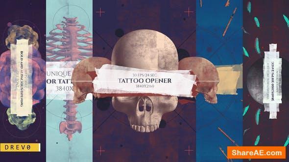 Videohive Tattoo Studio Opener/ Rock Pub/ Gothic Promo/ Biker Сlub/ Grunge/ Scull and Bones/ Roses/ Brush/ Ink